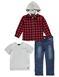 7 For All Mankind Boys' Hooded Flannel 3-Piece Pants Set Outfit