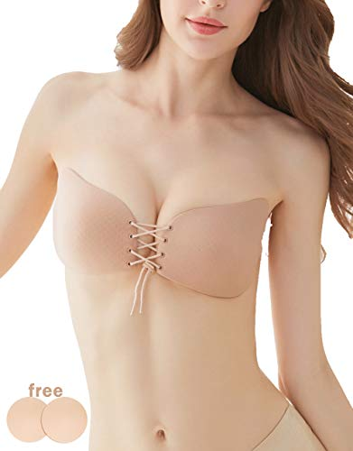 Clotiya Breathable Invisible Sticky Bra Push up Strapless Adhesive Bra Sticky Boobs, Beige, D -
