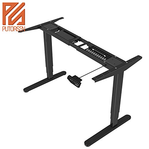 PUTORSEN® ES23B Height Adjustable Electric Standing Desk Frame Three-Stage with Anti-collision System, Dual Motor Heavy Duty Steel Stand up Desk with Automatic Memory Smart Keyboard (Frame Only-Black)