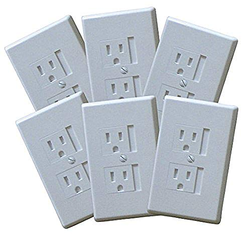 - 6-Pack Safety Innovations Self-closing (1Screw) Standard Outlet Covers - An Alternative To Wall Socket Plugs for Child Proofing Outlets (White)