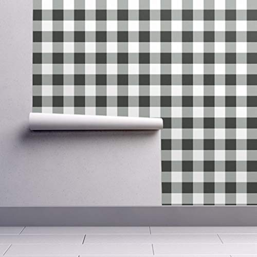 - Peel-and-Stick Removable Wallpaper - Buffalo Plaid Checks Black Country Traditional by Domesticate - 24in x 60in Woven Textured Peel-and-Stick Removable Wallpaper Roll