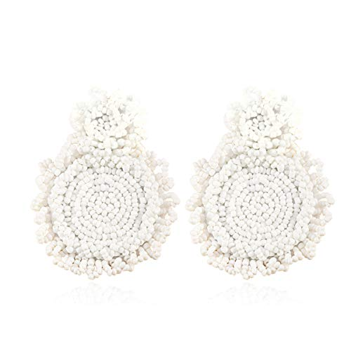 White Statement Earrings Rianne Beaded Drop Earrings Round Dangle Earrings Hoop Earrings 2019 Gift for Sister Friend ()