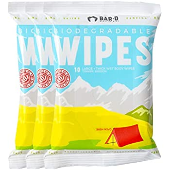 Bar-D Biodegradable Cleansing Body Wipes (3-Pack, 30ct) Tea Tree Oil & Aloe Vera - Extra Large & Thick Bamboo Cleansing Wipes - Travel Wipes Great for ...