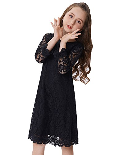 Girls Black A-Line Lace Kid Dresses (10-11yrs) CL010442-3 -