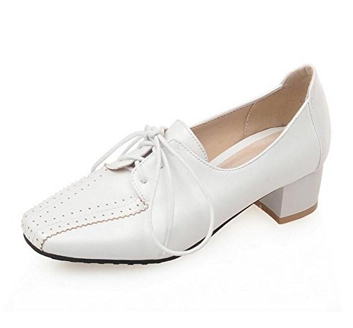 xie Court pour Les Femmes Casual Lacée jusqu'à Faible pour Aider Les Chaussures à Talons rudes à Talons, White, 38