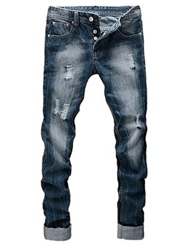 ADELINA Ripped Slim Fit Jeans R Nner RT Distressed Men Washed Ropa Pantalones Vaqueros Vintage Fashion Stretch Jeans Pantalones Casual Colour