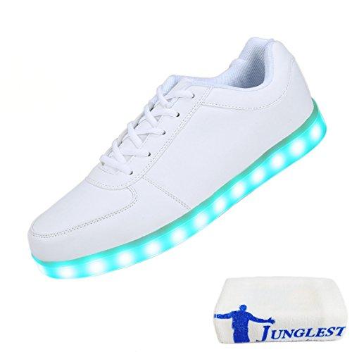 (Presente:pequeña toalla)Rojo EU 36, JUNGLEST® moda Zapatos moda Unisex Blanco colores LED Rojo H