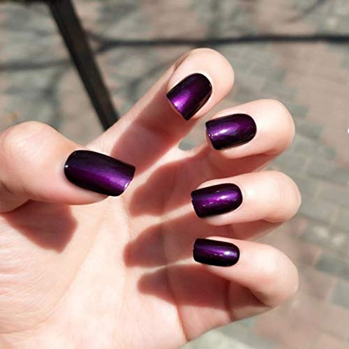 Easy Halloween Nail Art For Short Nails (Asooll 24Pcs False Nails Purple Gradient Bling Short Fake Nails Full Cover Party Acrylic Nails Art for Women and)