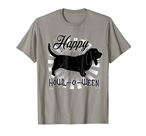 Happy Howl-O-Ween - Funny Basset Hound Dog Halloween T Shirt -
