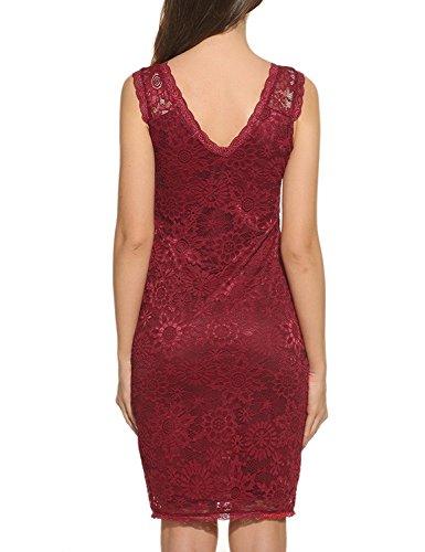 Teamyy Vestido de Lápiz Mujer sin Mangas Encaje Floral Delgado Elegante rojo vino
