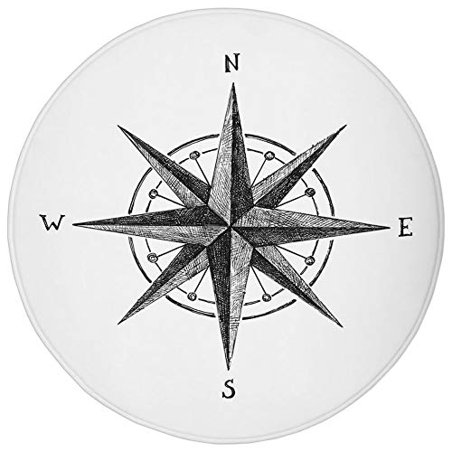Round Rug Mat Carpet,Compass,Seamanship Hand Drawn Windrose with Complete Directions North South East West Decorative,Black White,Flannel Microfiber Non-Slip Soft Absorbent,for Kitchen Floor Bathroom -