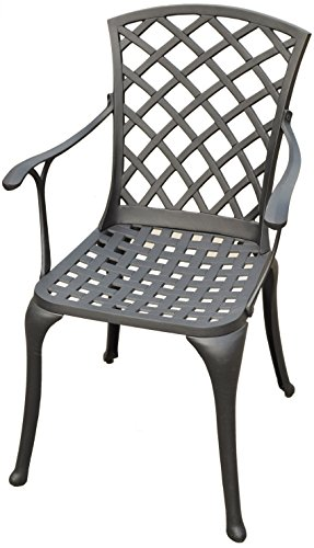 Crosley Furniture Sedona Solid-Cast Aluminum Outdoor High-Back Arm Chair, Black (Furniture Cast Sling Aluminum Patio)