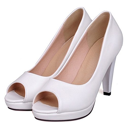 COOLCEPT Mujer Moda Sin Cordones Sandalias Peep Toe Tacon Embudo Zapatos Blanco