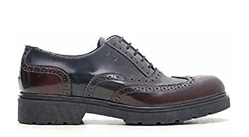 burdeos cordones Giardini Nero de para de Zapatos Piel mujer 6ZTZ1xqw8t