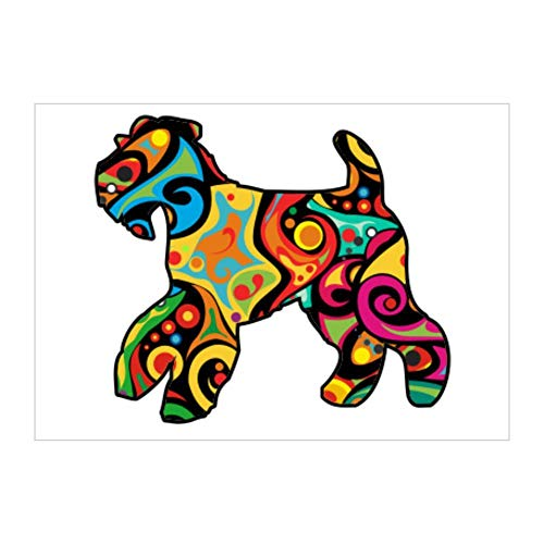 Idakoos Psychedelic Welsh Terrier Sticker Pack x4 6