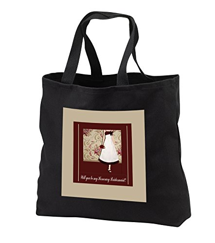 Beverly Turner Wedding Bridal Party Design - Honorary Bridesmaid Request, Lady with Bouquet, Roses Background, Red - Tote Bags - Black Tote Bag 14w x 14h x 3d (tb_282207_1) by 3dRose