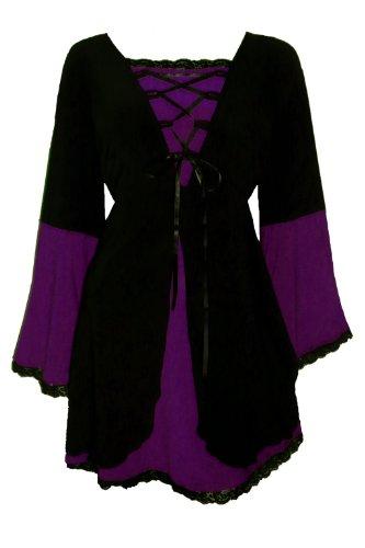 Dare To Wear Victorian Gothic Boho Women's Plus Size Princess Corset Top in Plum 1x