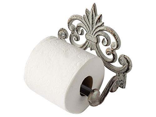 (Comfify Fleur De Lis Cast Iron Toilet Paper Roll Holder - Cast Iron Wall Mounted Toilet Tissue Holder - European Vintage Design - 6.75