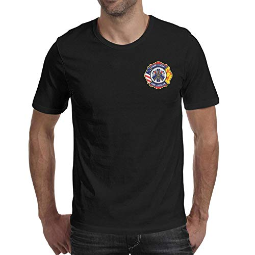 DXQIANG Happy Valley Fire & Rescue Design Men's Cool Shirts 100% Cotton Tee Tops