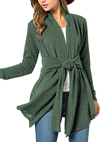 Women's Casual Cotton Open Front Cardigan Fuzzy Tie Waist Long Sleeve Kimono Forest Green M ()