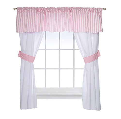 Baby Doll Candyland 5 Piece Window Valance and Curtain Set, Pink