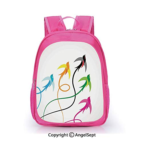 Hot Sale Backpack Casual Daypack,Group of Colorful Swallow Birds Flying to the Sky Hope Phoenix Courage Wings Graphic Art Multi,15.7inch,Travel Outdoor Backpack For Boys And Girls