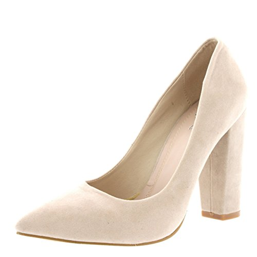 Womens Party Office Shoes Work Pointed Toe Court Shoes Evening Pumps - Nude - US8/EU39 - KL0110