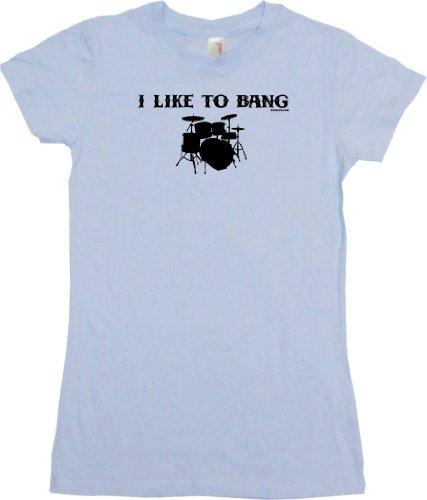 I Like To Bang Drums Drum Set Logo Women's Tee Shirt Large-Light Blue Babydoll
