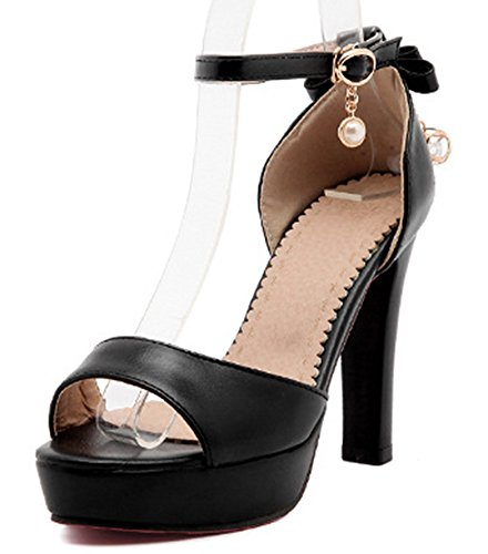 Talon Bride Cheville Mode Haut Aisun Sandales Noir Femme wqg4E4f