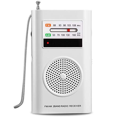 AM FM Radio, Battery Operated Radio, Portable Pocket Radio with Best Reception for Indoor/Outdoor Use, Transistor Radio with Headphone Jack, by MIKA (White)