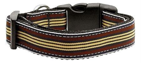 Mirage Pet Products Preppy Stripes Nylon Ribbon Collars, X-Small, Brown/Khaki