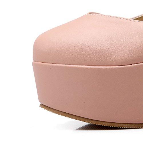 Solki Materiaali Pyöreä Pehmeä Kiinteä Suljetun Toe Korkokengät kengät Naisten Pumput Pinkki Amoonyfashion wBEt00