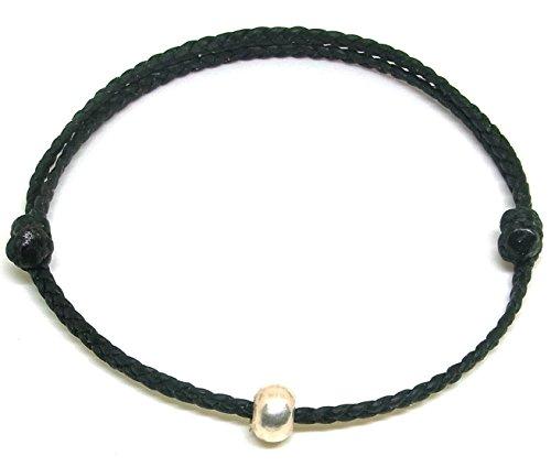 BUSABAN Asian Handmade Bracelet 925 Silver Bead Double Black Wax String