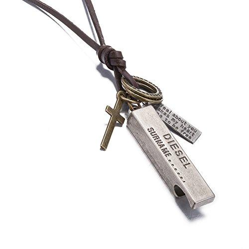 Kalapure Women Mens Vintage Dieles Surna Me Pendant Brown Leather Cord Necklace Chain  Silver