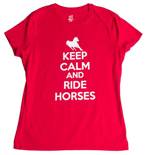 JTshirt.com-19628-Keep Calm and Ride Horses | Cute Horse Riding Equestrian 4H Ladies\' T-shirt-B00C6RBGNU-T Shirt Design