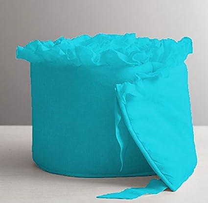 Turquoise,Cradle Unisex Nursery Baby Bedding Cradle Ruffle Bumper Solid Pattern 500 TC Egyptian Cotton