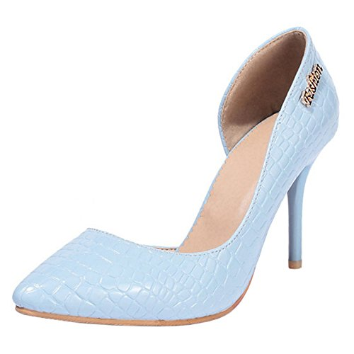 Hauts Talons Chaussures Light Élégant Aiguille de 17 Femmes Simple Pointue Escarpins TAOFFEN Blue CR4fqw