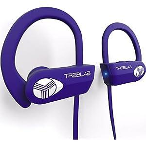 TREBLAB XR500 Bluetooth Headphones, Best Wireless Earbuds For Sports, Running, Gym Workout. 2017 New Model. IPX7 Waterproof, Sweatproof, Secure-Fit Headset. Noise Cancelling Earphones w/ Mic (Purple)