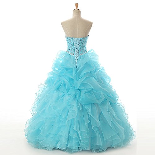 Rüschen Abendkleider Prinzessin LuckyShe Damen Lang Organza Quinceanerakleid Blau Ballkleid Festkleider xqaIX