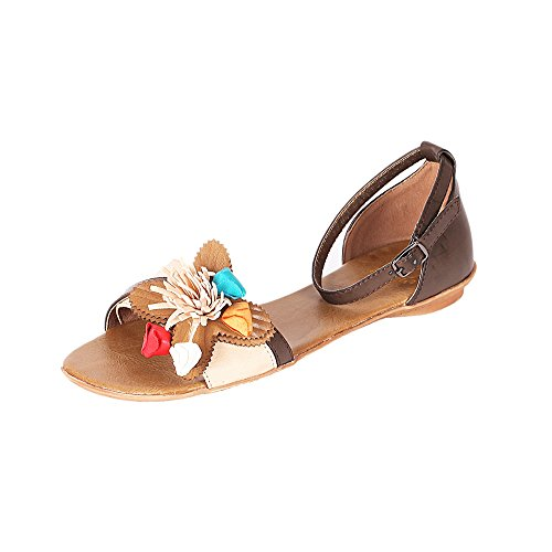 Alexis Leroy - Alexis Leroy Womens shoes Classic Flowers Knot Ankle Wrap Open Toe Flat Fashion Sandals para mujer Marrón