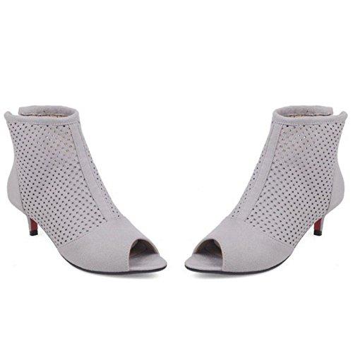 COOLCEPT Damen Fashion Peep Toe Kitten Heel Breathable Frühling-Sommer Bootie Pumps Grau