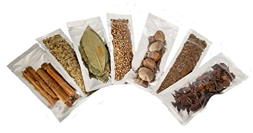 Organic Whole Spices Starter Gift Set – 7 Spice Set: Bay Leaves, Cinnamon Sticks, Nutmeg, Star Anise, Caraway Seeds…
