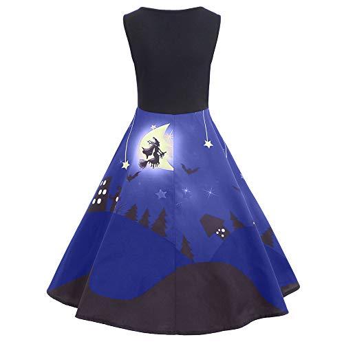Big Sleeveless Tank Dresses, Toimoth Women's Vintage Printed Halloween Party Long Dress(Blue,L)