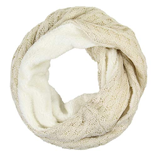 Me Plus Women;s Winter Fleece Lined Cable Knit Chunky Soft Thick Circle Loop Infinity Scarf (Beige)