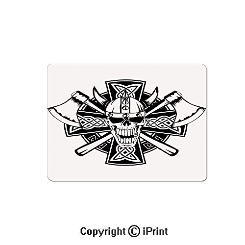 Anti-Slip Mouse Pad,Celtic Skull Knight with Cross Axes and Knives Medieval Europe Iron Age Graphic Mouse Mat,Non-Slip Rubber Base Mousepad,7.9x9.5 inch,Black White