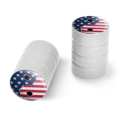 オートバイ自転車バイクタイヤリムホイールアルミバルブステムキャップ - ホワイトアメリカの愛国心と羊のアメリカの旗