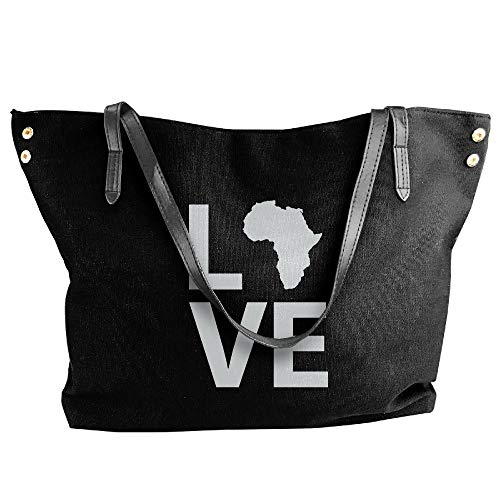 Black Love Africa Love Women Canvas Shoulder Bag Handbags Tote Bag Casual Shopping Bag by SHENQINGWENEN BAG