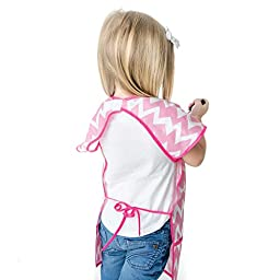 Bumkins Short Sleeved Art Smock, Pink Chevron (3-7 Years)