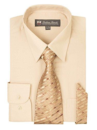Complete Sand (Men's Dress Shirt, Tie & Hanky Set-Sand M (15-15.5) Neck 34/35)