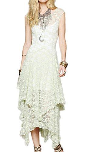 Encaje Patchwork Irregular vestido vestido de fiesta de la mujer apricot